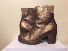 MM6 Maison Martin Margiela S42189 133 Bronze Women's Fashion Heel Short Boot 8.5 #MM6MaisonMartin #FashionShortHeelsBoots
