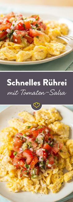 Für den schnellen Hunger: Rührei mit Tomatensalsa Simply move your breakfast to the evening and make fluffy scrambled eggs with tomato salsa. Egg Recipes, Crockpot Recipes, Snack Recipes, Dinner Recipes, Quick Snacks, Healthy Snacks, Healthy Recipes, Cena Paleo, Vegan Breakfast Recipes