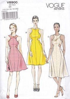 VOGUE 8900 Sewing Pattern Cut-out Peek-a-boo Sporty Dress 12-20   uncut OOP #Vogue