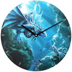 This Stunning Clock is from the Age of Dragons range by fantasy artist Anne Stokes. It is in the Water Dragon Design and is a must have for all fans of dragons. Wiccan, Pagan, Wall Clock With Pictures, Black Castle, Anne Stokes, Water Dragon, Cool Clocks, Fantasy Dragon