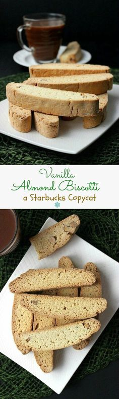 Vegan vanilla Almond Biscotti {Starbucks Copycat} is a real treat. Much easier than you think and besides coffee they are great to dunk in hot chocolate. Italian Desserts, Vegan Desserts, Delicious Desserts, Vegan Recipes, Vegan Treats, Yummy Treats, Sweet Treats, Tea Cakes, Cookie Recipes