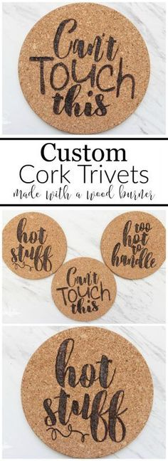 You can easily make these custom cork trivets using a stencil and a wood burning. You can easily make these custom cork trivets using a stencil and a wood burning tool. They make a great addition to any kitchen and would be a perfect housewarming gift! Wood Burning Stencils, Wood Burning Tool, Wood Burning Crafts, Wood Burning Patterns, Wood Burning Projects, Cork Trivet, Cork Coasters, Custom Coasters, Homemade Housewarming Gifts
