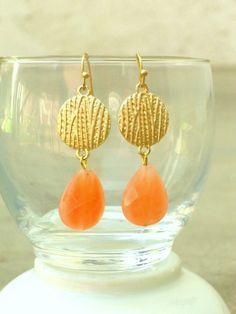Golden Peach Drop Earrings