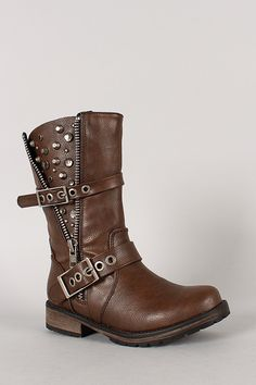 Breckelle Rocker-17 Jeweled Studded Zipper Riding Boot