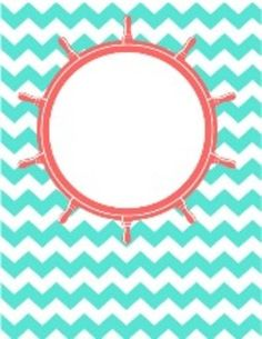 Nautical Themed Chevron Binder Covers (Editable)