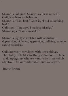 Guilt Vs. shame Brene Brown