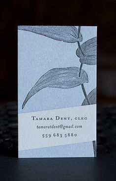 botanical business card / letterpress + design by eva moon press / photo by della jackson
