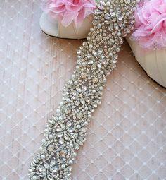 Swarovski Pearl Rhinestone Wedding Dress Sash - S2 - SALE. $125.00, via Etsy.