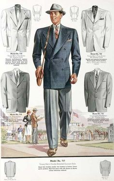 Five styles of 1930s men's jackets.