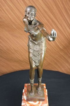 Art Deco Dancer Bronze Sculpture Signed D H Chiparus Marble Base Figurine