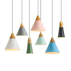 Nordic Pendant Light Wood Aluminum Lampshade Industrial Lighting Loft Lamparas Colorful drop lamp led Light Fixtures - All For Decoration Wood Pendant Light, Cheap Pendant Lights, Modern Pendant Light, Ceiling Pendant, Pendant Lighting, Pendant Lamps, Pendants, Diy Luminaire, Led Light Fixtures