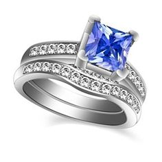 2.10 Ct Tanzanite & White Topaz 10K White Gold Bridal Set Ring Size 5-10 # With Free Stud Earrings by JewelryHub on Opensky