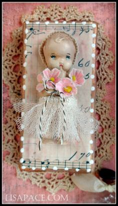 Sweet Little Baby of Mine Original Mixed Media Shadow Box created with Plaster and vintage items.