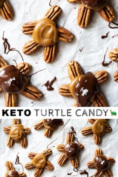 ) caramel sauce, these pecan keto turtle candy are not only incredibly delicious but also shockingly easy to whip up! Low Carb Candy, Healthy Candy, Keto Candy, Low Carb Sweets, Low Carb Desserts, Ketogenic Desserts, Keto Snacks, Turtles Candy, Caramel Pecan