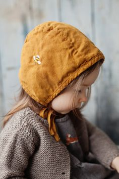 c87bc37a5 Linen Bonnet Mustard Baby Hat Washed Linen Hand Made Baby Bonnets, Kind  Mode, Baby