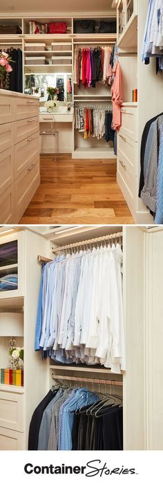 See how our Contained Home Organizer, Charlie, found room for all of Brooke's AND her husband's clothes, shoes and accessories in their new TCS Closet.