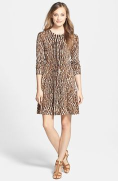 MICHAEL Michael Kors Print Fit & Flare Sweater Dress. Loved this dress the minute I saw it. The picture does not do it justice. A very figure flattering dress. Perfect for fall!