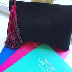 colours of federrock clutch handmade in Bavaria twotone tassels deer leather luxury fashion
