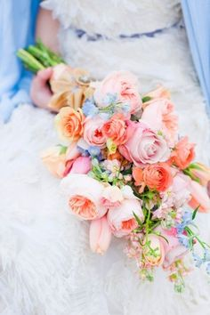 Loose peach pink and blue bouquet by Floral Fauna | photography by http://corbingurkin.com/