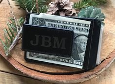 Gifts for him this holiday season.  The Essential Money Clip with personalization ($36).