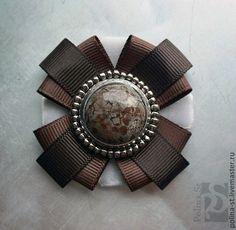 """Купить брошь-орден """"Коричневый"""" - коричневый, темно-коричневый, серыйвинтаж, винтажный стиль, натуральный камень"""