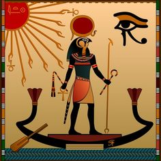 Religion of Ancient Egypt. The gods of ancient Egypt - Aten and Ra. Ra in the solar bark - buy this vector on Shutterstock & find other images. Ancient Egypt Fashion, Ancient Egypt Art, Ancient History, European History, Ancient Artifacts, Ancient Aliens, American History, Ancient Greece, Paintings