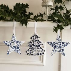 set of christmas mosaic decorations by white avenue | notonthehighstreet.com