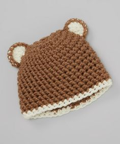 Take a look at this Brown Bear Crocheted Beanie by Cupc4ke on #zulily today!