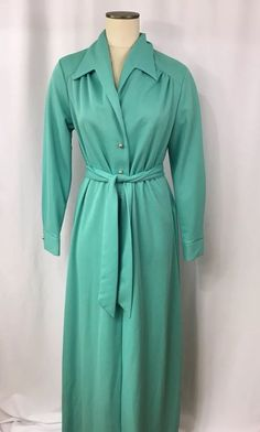 Vintage 60/70s Sears Aqua Polyester Maxi Dress Long Sleeve Sz 18 Halloween #Sears #Maxi #WeartoWork