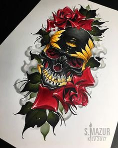 Свободен ,ищет хозяина ) Сделаю только на бедро #tattoo #tattoos #tattooskull #skull #rose #tattoorose #video #copic #copicdraw #copicmarker #tattooed #lamp #racoon #flowers #girltattoo #art #snow #artwork #sleeve #neotraditional #neotrad #neotradsub #ink #inked #mazurtattoo #brightinktattoostudio