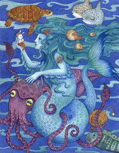 "Mermaid Gift Squid Sea Life Art Print 16""x20"" Limited Edition"