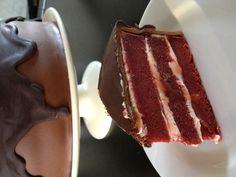 Chocolate covered red velvet cake