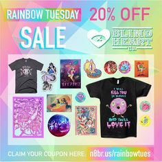 Just a sampling of the cool things on sale today at @blindheartco. Coupon code at http://n8br.us/rainbowtues.  #RainbowTues #blindheartco #sale #prints #tshirts #enamelpins #pingame #stickers #etc November 24 2015 at 02:56PM