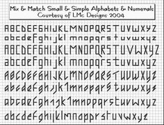 Tiny backstitch alphabets. Cross stitch, 2-3 stitches high. Numbers on this page, too. // http://bitsoffloss.blogspot.com/2013/10/itty-breally-small-alphabets-and.html