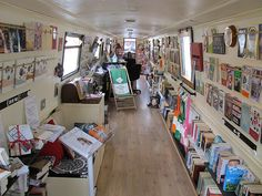 The Book Barge, a floating bookshop on a canal boat Cruiser Stern) in Lichfield, Staffordshire, England. This is how I want to live. Narrowboat Interiors, Floating Books, Mobile Library, Living On A Boat, Canal Boat, Book Writer, Great Books, Deco, Bookshelves
