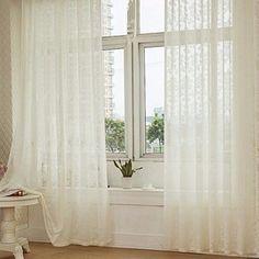 100x200cm Floral Flocking Tulle Window Curtain Door Bedroom Balcony Screen