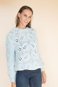 Leaf Hand Knit - Skyway by MAUD | VILLOID  handmade pullover   handknit sweater blue By, Hand Knitting, Pullover, Sweaters, Fashion, Moda, Fashion Styles, Sweater, Fashion Illustrations