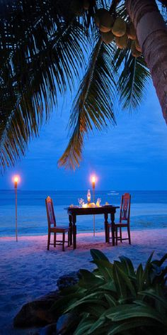 Romantic candlelight dinner on the beach Dream Vacations, Vacation Spots, Tropical Vacations, Vacation Rentals, Romantic Places, Romantic Beach, Romantic Table, Romantic Night, I Love The Beach