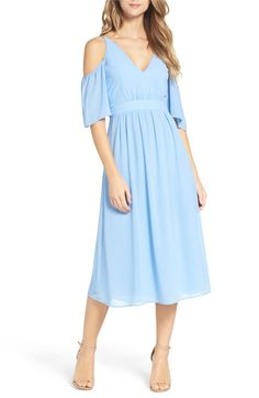 Main Image - Charles Henry Cold Shoulder Midi Dress
