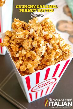 Sweet, crunchy and peanut buttery popcorn. What more could you ask for?  How about and easy recipe with quick prep and simple clean up? Crunchy Caramel Peanut Butter Popcorn is perfect for movie night and an awesome party favor too.