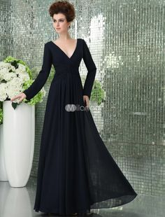 Deep V-neck Dark Navy Blue Chiffon Long Sleeve Prom Dress. If your preference is for a more mature and demure dress, this could be the perfect dress for you. It features a deep V neckline, long sleeves and an empire waist cinched with a wide, coordinating waistband. The back of th.. . See More V-Neck at http://www.ourgreatshop.com/V-Neck-C936.aspx