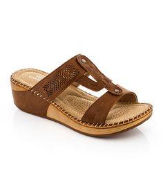 f2897c05770 Brown T-Strap Sandal by Lady Godiva