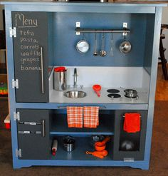 "this is possibly the coolest thing i've ever seen. i have a kiddo that's pretty much always wanted to be a chef, but the kitchen playsets are always so girly and pink. i like that this isn't too ""butch"" for little girls, but the blue and orange (which is also the color scheme in our bathroom) is just right for little boys to not be tormented by bigger boys"