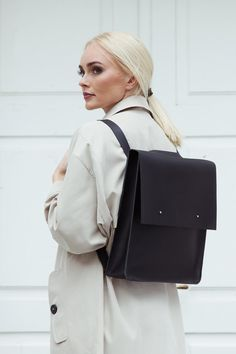 Leather backpack-handbag Universal leather bag - Handmade genuine black leather rucksack