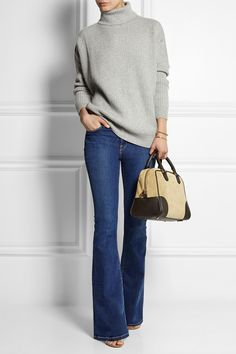 How to wear flare jeans, turtleneck