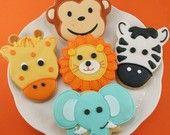 Animal Face Sugar Cookies (12 favors, individually bagged and bowed). $36.00, via Etsy.