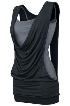 EMP OPEN SOUBLE LAYER TOP IN BLACK/GREY