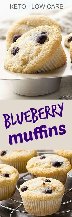 Keto blueberry muffins made low carb and gluten-free with coconut flour. LCHF