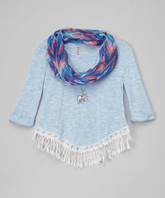 Look at this Blue Fringe Top & Scarf by Beautees Katies Fashion, Boho Aesthetic, Ballet, Fringes, That Look, Comfy, Style, Children, Girls