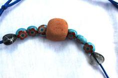 sea beach pottery necklace natural beach terracotta by SeaZephyr, $15.00